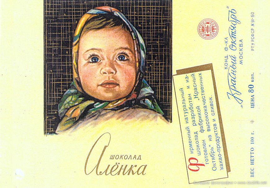 """1977 год. Обертка шоколада """"Алёнка""""."""