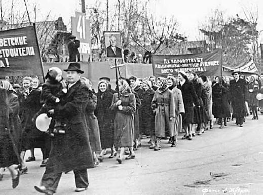 1958 год 7 ноября, СССР, демонстрация, застолье, парад, революция